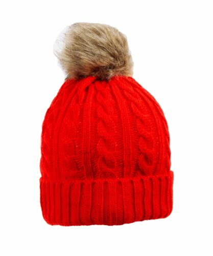 U449 femmes designer turn up tricoté raton laveur fausse fourrure pom pompon ski bonnet