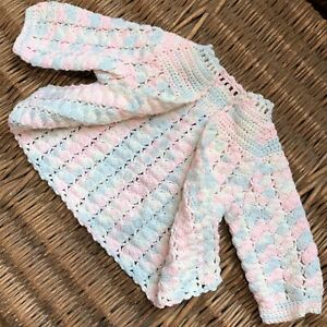 ada1deb91c8 Image is loading HANDMADE-Crochet-Knit-Knitted-Baby-SWEATER-JACKET-Pink-