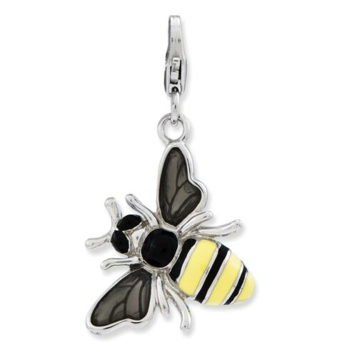 3-D Yellow Jacket Charm In 925 Sterling Silver 33x18mm 3.24gr
