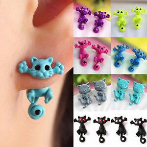 Women 3D Cat Stud Earings Chic Cute Cat Earrings Vogue Jewelry Earri JRB PxJD$N