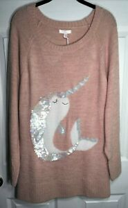 Sz-XL-NWT-50-LAUREN-CONRAD-PINK-SILVER-SEQUIN-SPARKLE-FUZZY-NARWHAL-SWEATER