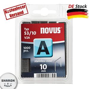 1000 Tacker-Klammern Vom Typ Novus A 53 Feindrahtklammern 10 Mm Aus Edelstahl