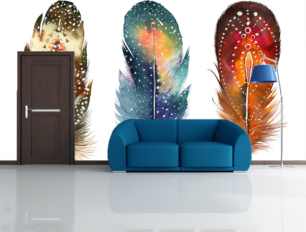 3D Farbeful Feathers 99 Wall Paper Wall Print Decal Wall Deco Wall Indoor Murals