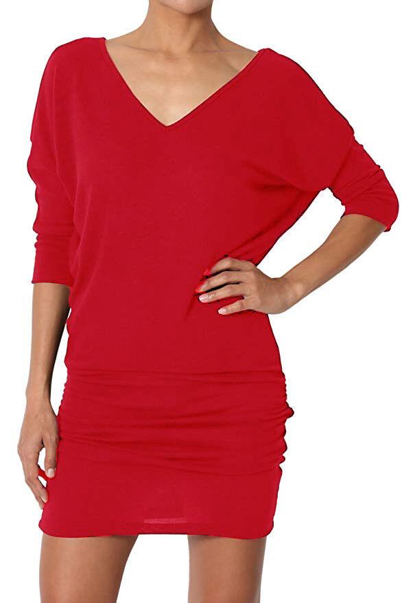 Femme Col V Long Chauve-souris Tunique Robe Top manches UK 3/4 UK manches 8-28 1a1888