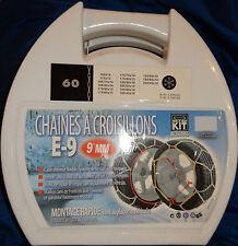 CHAINE NEIGE CROISILLONS 9 MM A MONTAGE RAPIDE 165/75x14 175/60x15 195/50x15 etc