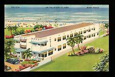 The Otis Hotel postcard Miami Beach, Florida FL linen Vintage auto car beach