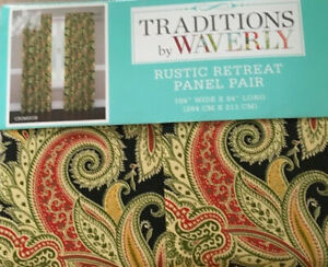 Waverly Rustic Retreat Crimson Black 2 Window Panels 104 Quot X