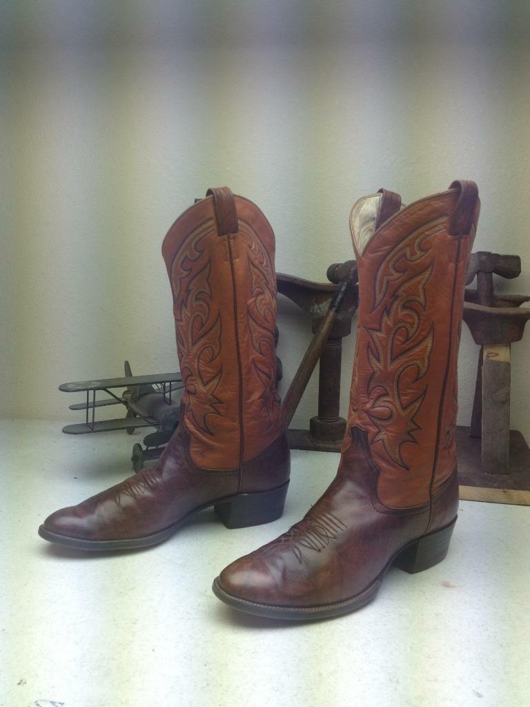 VINTAGE MADE IN USA LARRY MAHAN OXBLOOD LEATHER WESTERN COWBOY BOOTS SIZE 9.5 D