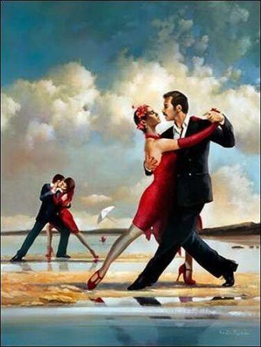 Ron di Scenza Tango on the Beach Keilrahmen-Bild Leinwand  Paar Tanz Musik Meer