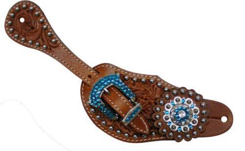 TEAL BLING Genuine Leather Western Ladies PAIR Spur Straps
