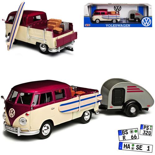 VW Volkswagen T1 Surfbrett und Koffer mit Anhänger Bus 1950-1967 1//24 Motormax M