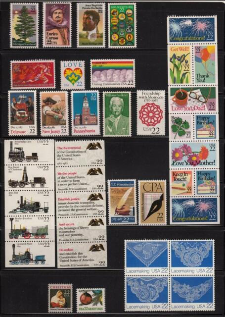 1987 US  COMMEMORATIVE YEAR SET 40 STAMPS MINT NH