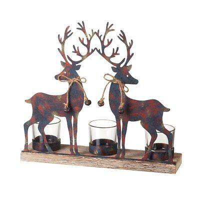 Modern Painted Reindeer / Deer / Stag Tea Light Candle Holder on Wooden Base
