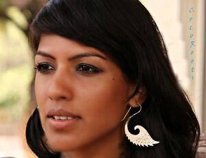 Tribal-Earring-Bone-Brass-Dangle-Drop-Hook-Handmade-Carved-Women-Gold-white-Wing