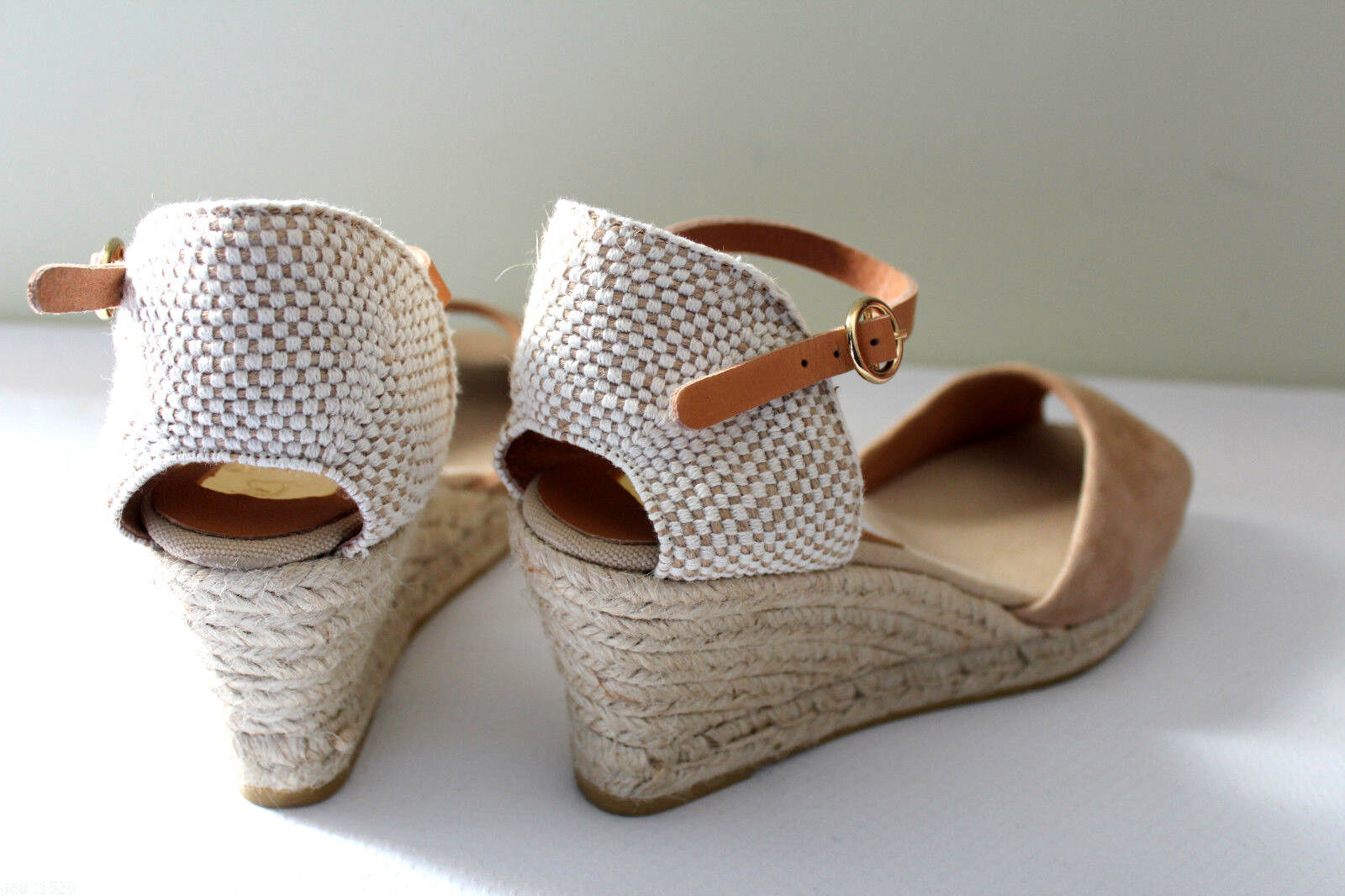 NEW Spanish  Kanna Beige Woven Suede Leder Espadrille Wedge Spanish NEW Sandales 40 10 178 72184d