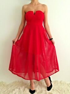 Women-039-s-Red-Strapless-Fit-amp-Flare-Empire-Waist-Eve-Prom-Cocktail-Formal-Dress