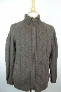 Chunky Yak Ted Sweater Cable Cardigan 3 Wool L Zip Baker Brown B77wZqfR