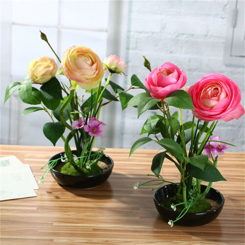 Artificial Simulation Rose Flower Green Plant Bonsai With Black Vase Home Decor