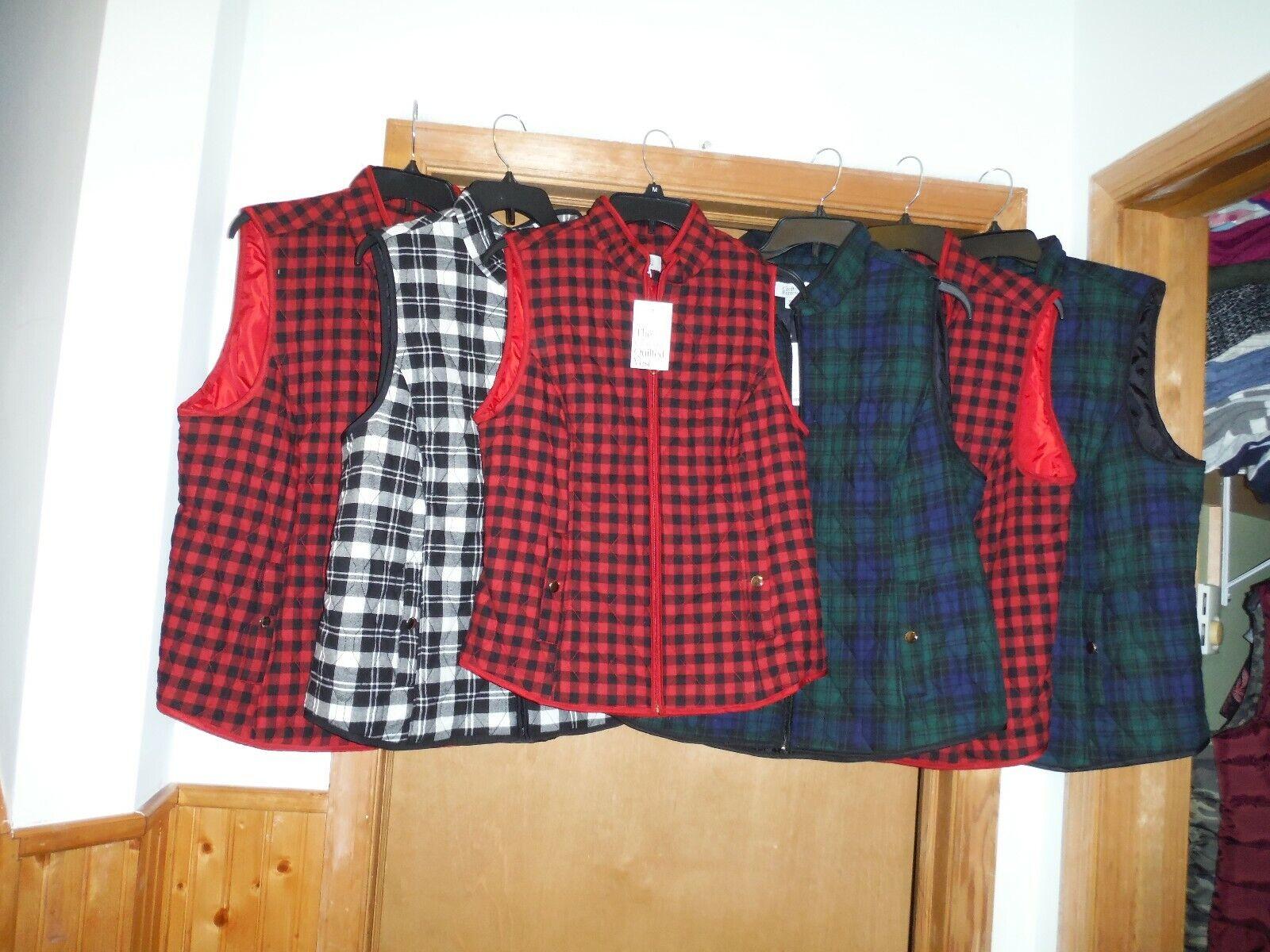 Light weight Women's Puffer Vests XXL,L,S,Croft & Barrow Full Zip Multi Plaid