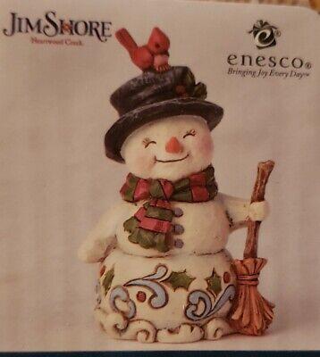 "Jim Shore SNOWMAN HOLDING BROOM 3.88/"" TallMINI Polyresin Heartwood Creek 6001496"