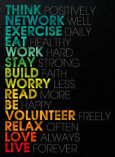 Framed Print - Word Art: Think Positive (Picture Poster Self Help Mindfulness)