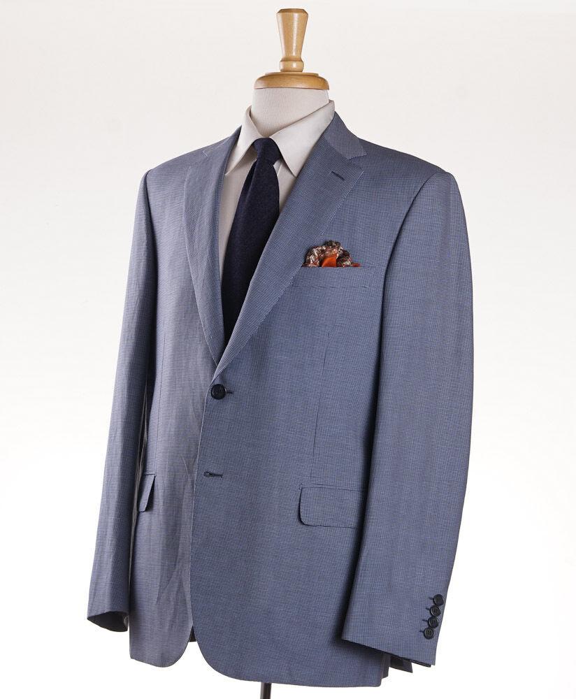 NWT 4495 BRIONI 'Brunico' Sky Blau Houndstooth Wool-Linen-Silk Sport Coat 44 R