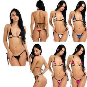 cd138c43552 Women's G-String Thong Bikini Bra Set Lingerie Halter Micro Brief ...