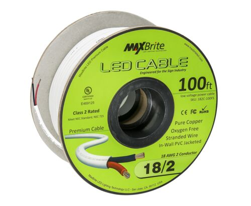 18AWG Low Voltage LED Cable 2 Conductor Jacketed In-Wall Speaker Wire UL//cUL