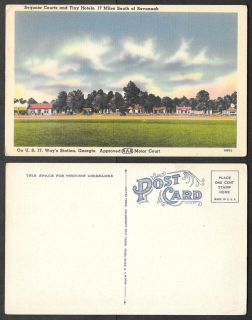 Old Georgia Postcard - Savannah - Sequoia Courts Motel, hotel