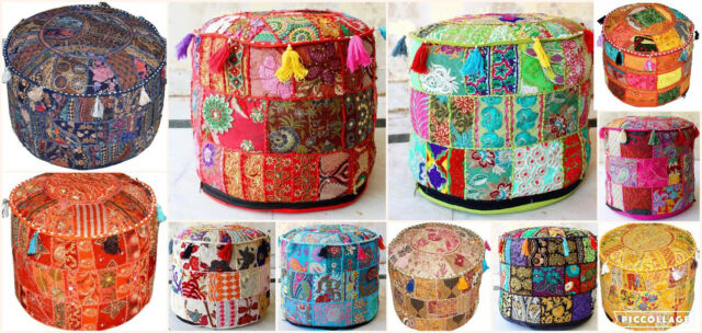 Marvelous Indian Vintage Patchwork Pouf Ottoman Round Ottoman Cover Pouf Footstool Ethnic Squirreltailoven Fun Painted Chair Ideas Images Squirreltailovenorg