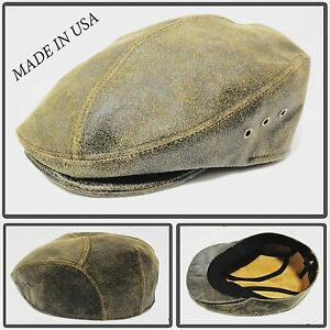 f60ee93d091 100%DISTRES LEATHER SNAP BRIM NEWSBOY ASCOT IVY DRIVING GOLF CAP HAT ...