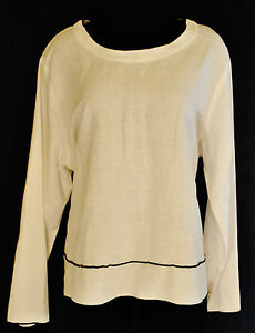 VTG-90s-Hot-Cotton-BoHo-HIPPIE-Chic-White-Linen-Tunic-Shirt-Blouse-Top-XL