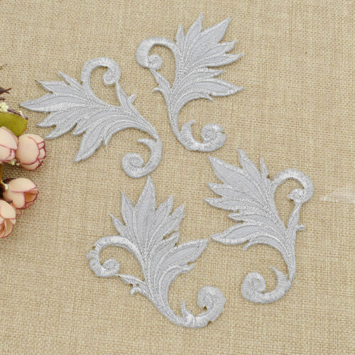 2Pairs Embroidery Applique Silver//Gold Patches Sewing//Iron On Ribbon Belt Craft