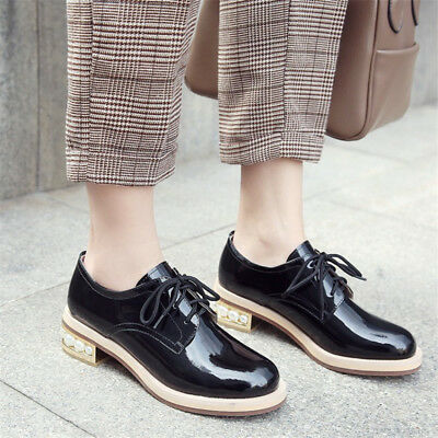 Women Retro Round Toe Sneakers Brogue Low Tops Casual Lace Up Shoes Fashion