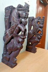 Wall-Corbel-Pair-Wooden-Horse-Sculpture-Bracket-Gargoyle-Statue-Home-Decor-Rare