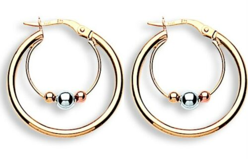 9ct Yellow White /& Rose Gold 20mm Suspended Ball Hoop Earrings 1.6g Hallmarked