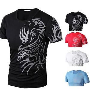 Herren-Kurzarm-Taetowierung-Muster-T-Shirt-Muskelshirt-Rundhals
