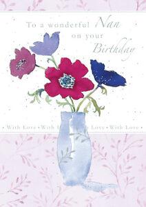 Nan-Carte-de-Joyeux-Anniversaire-034-Floral-Vase-034-Taille-12-1cm-X-17-1cm-GH0435