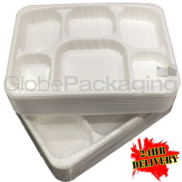400 x PREMIUM HEAVY DUTY DISPOSABLE Weiß PLASTIC '6 COMPARTMENT' PLATES - 9x12
