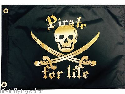 """A PIRATE/'S LIFE FOR ME BOAT FLAG 12X18/"""" NEW PIRATE BOAT FLAG JOLLY ROGER"""