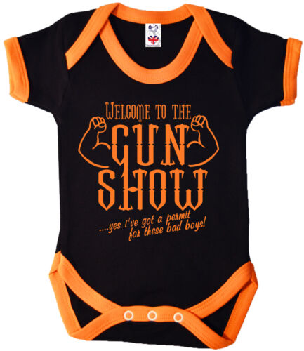 "Funny Baby Body /""Welcome to the gun show/"" Découpé Babygrow Muscles Gym"
