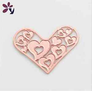 New-Floating-charm-28mm-Lockets-Rose-Gold-Heart-for-glass-Living-Memory-Locket