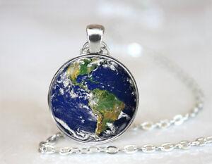 Earth Day Art Tibetan silver Dome Glass Art Chain Pendant Necklace