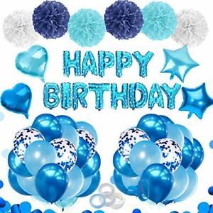 Bleu-Ballons-birthdaydecorations-Pour-Garcons-Hommes-Bebe-avec-Bleu-confettis-Anniversaire