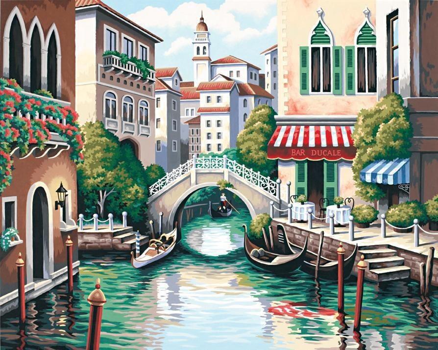 Scenic Canal Malen nach Zahlen Zahlen Zahlen Gondel Venedig  | Zürich  f2b75e