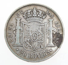 Spain 20 Reales 1850 Isabel I silver coin      exc  MB+/BB    #M066
