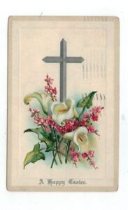 Antique-1912-Embossed-Easter-Post-Card-Easter-Lilies-Silver-Foil-Cross