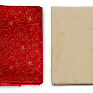 LUXURY-CHRISTMAS-STARS-TABLECLOTH-AND-NAPKINS-ANTI-STAIN-TREATMENT