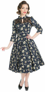 Rockabilly Swing Peephole Mesh Blooms Floral abito Abito Roses Hearts Vintage PqXxTYzX