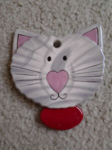 image is loading grey striped cat face ceramic christmas ornament by - Christmas Ceramics